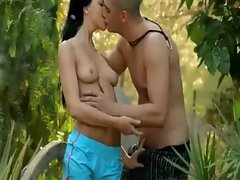 Sensual black raven haired luscious teen Paloma stuffed nice outdoors