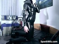 Young lady in latex gets her filthy sexual body