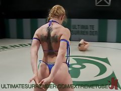 Big titted Randy chicks Wrestle and Fuck