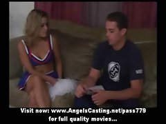 Amateur amazing blondie cheerleader talking with a chap