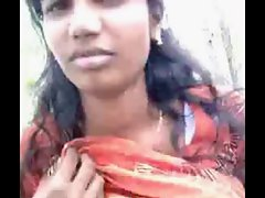 Sexual Tamil Slutty girl Boob Press Outdoor in Park