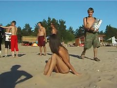 Spy nude lady picked up by voyeur cam at nude beach
