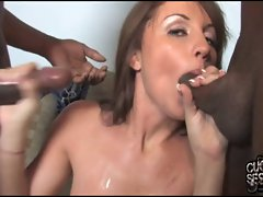 Bitch dirty wife sandwiched by blacks in front of cuckold hubby