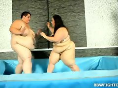 Hungry for penis BBWs in breathtaking wrestling video