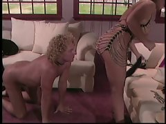 Mistress beating guy's ass
