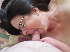 Rene Orgasm and jizz shot in mouth